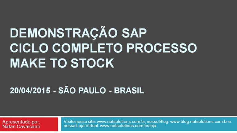 SAP – Demonstração Ciclo Completo Make to Stock